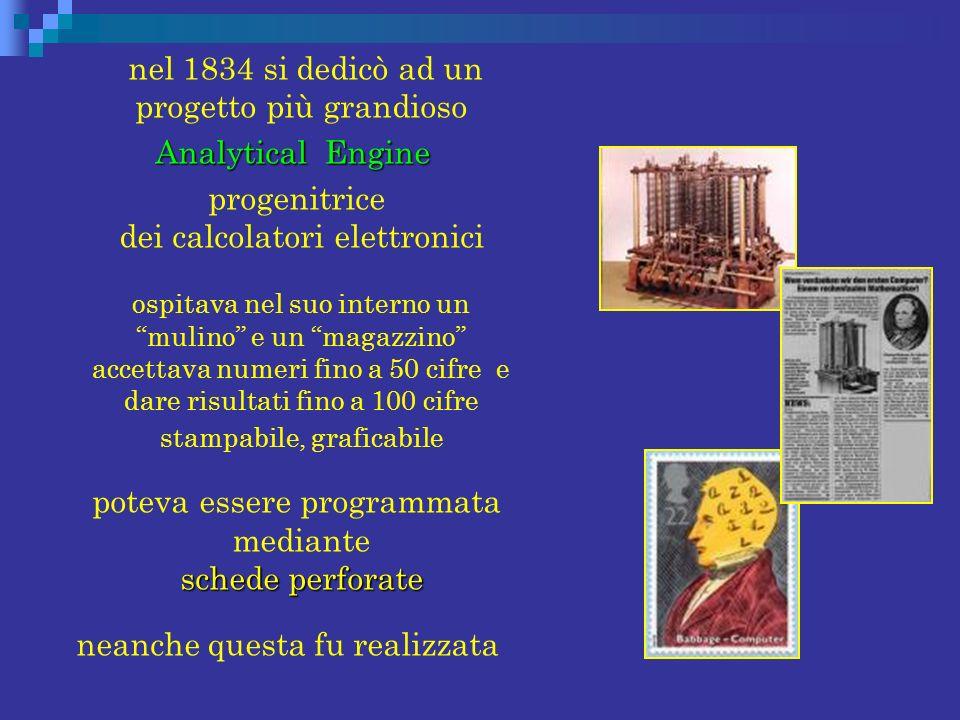 nel 1834 si dedicò ad un progetto più grandioso Analytical Engine Analytical Engine progenitrice dei calcolatori elettronici ospitava nel suo interno