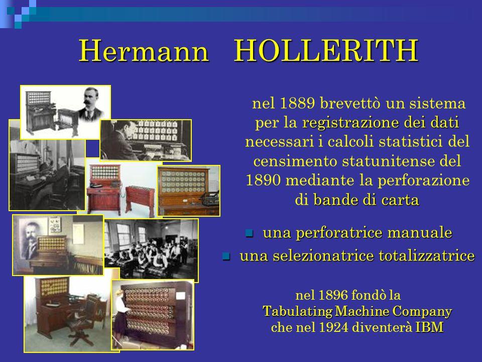 Hermann HOLLERITH Hermann HOLLERITH registrazione dei dati bande di carta nel 1889 brevettò un sistema per la registrazione dei dati necessari i calco