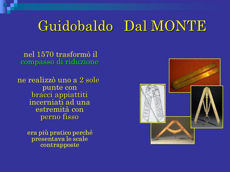 Guidobaldo Dal MONTE Guidobaldo Dal MONTE compasso di riduzione nel 1570 trasformò il compasso di riduzione 2 sole bracci appiattiti perno fisso ne re