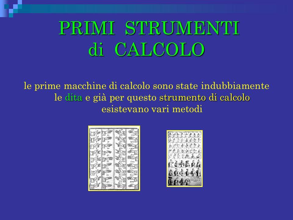 PRIMI STRUMENTI di CALCOLO PRIMI STRUMENTI di CALCOLO ditastrumento di calcolo le prime macchine di calcolo sono state indubbiamente le dita e già per