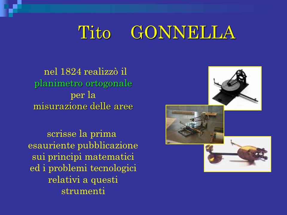 Tito GONNELLA Tito GONNELLA planimetro ortogonale misurazione delle aree nel 1824 realizzò il planimetro ortogonale per la misurazione delle aree scri
