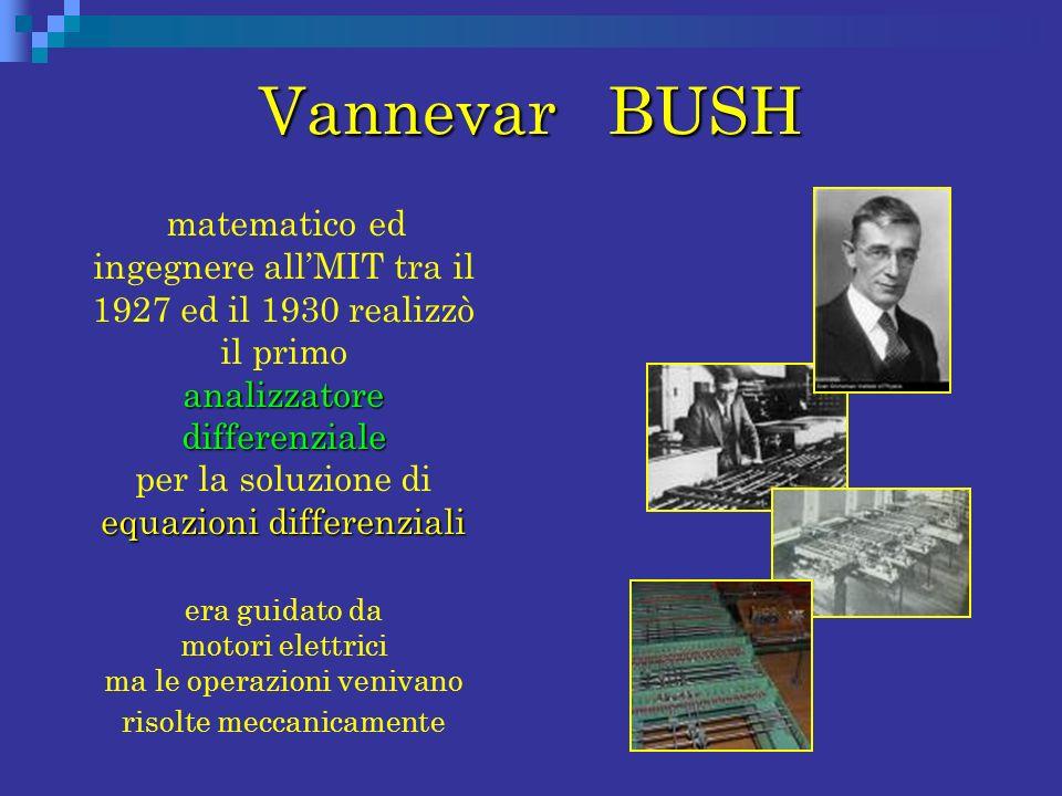 Vannevar BUSH analizzatore differenziale equazioni differenziali matematico ed ingegnere allMIT tra il 1927 ed il 1930 realizzò il primo analizzatore