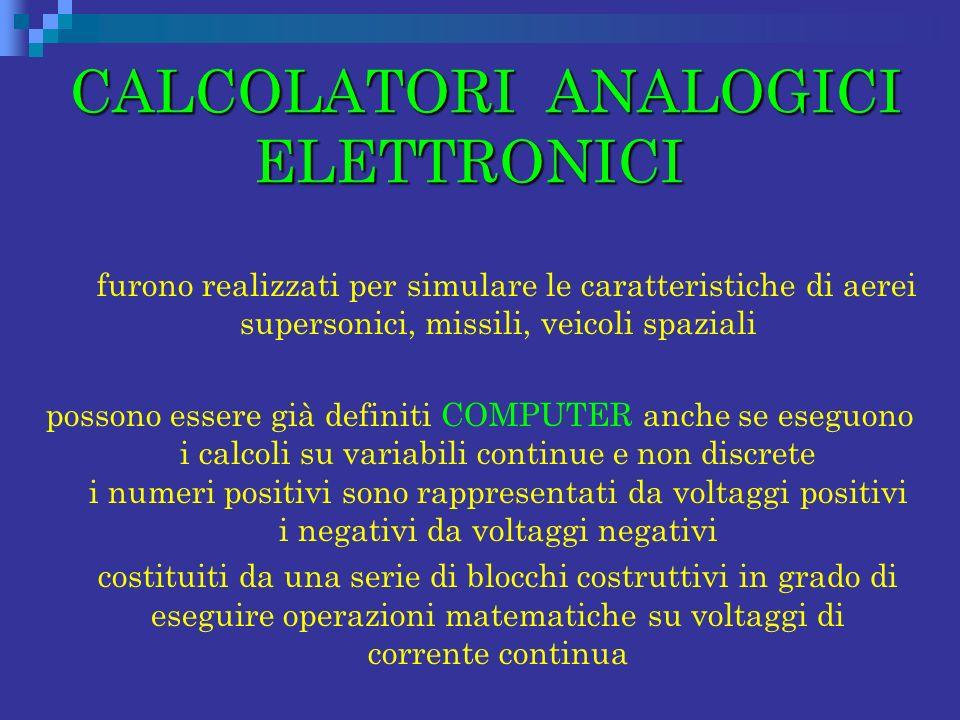 CALCOLATORI ANALOGICI ELETTRONICI CALCOLATORI ANALOGICI ELETTRONICI furono realizzati per simulare le caratteristiche di aerei supersonici, missili, v