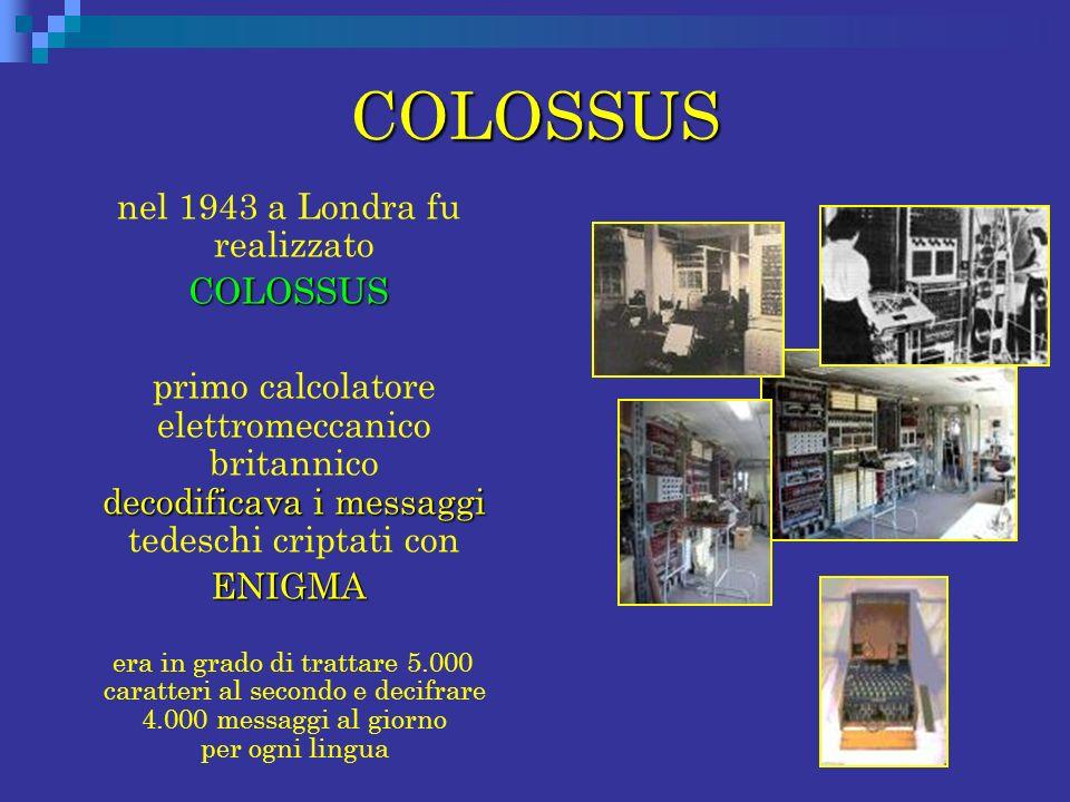 COLOSSUS nel 1943 a Londra fu realizzato COLOSSUS COLOSSUS decodificava i messaggi primo calcolatore elettromeccanico britannico decodificava i messag