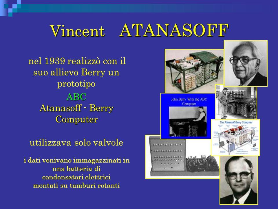 Vincent ATANASOFF nel 1939 realizzò con il suo allievo Berry un prototipo ABC Atanasoff - Berry Computer ABC Atanasoff - Berry Computer utilizzava sol