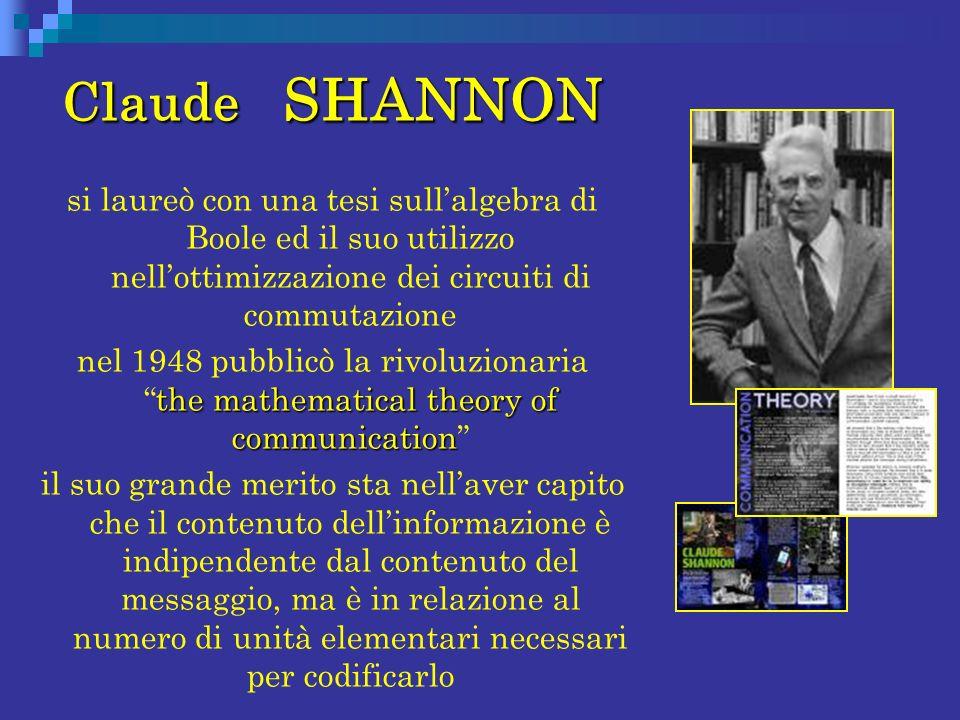Claude SHANNON si laureò con una tesi sullalgebra di Boole ed il suo utilizzo nellottimizzazione dei circuiti di commutazione the mathematical theory
