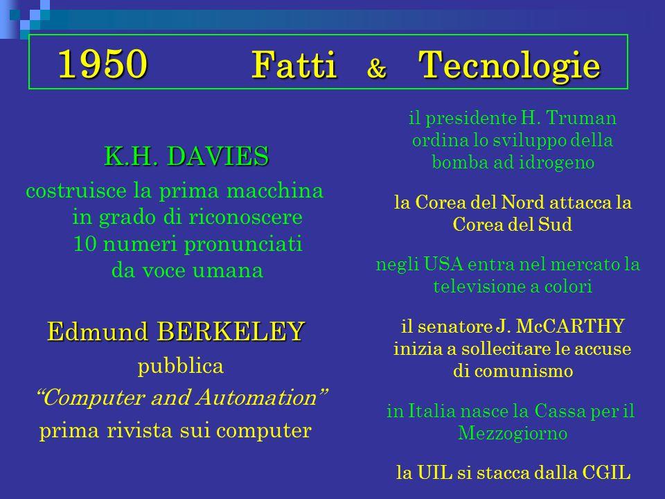 1950 Fatti & Tecnologie K.H. DAVIES K.H. DAVIES costruisce la prima macchina in grado di riconoscere 10 numeri pronunciati da voce umana Edmund BERKEL