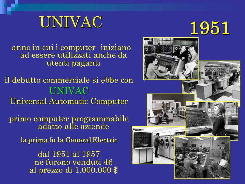 1951 UNIVAC UNIVAC anno in cui i computer iniziano ad essere utilizzati anche da utenti paganti il debutto commerciale si ebbe conUNIVAC Universal Aut