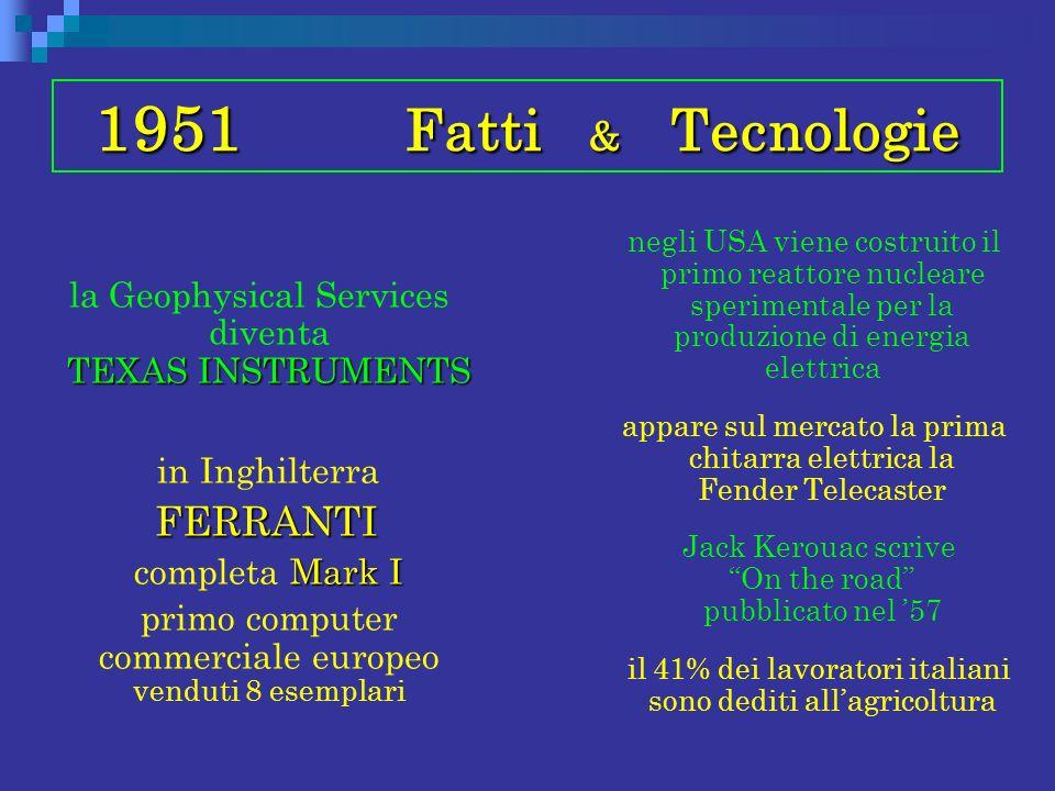 1951 Fatti & Tecnologie TEXAS INSTRUMENTS la Geophysical Services diventa TEXAS INSTRUMENTS in Inghilterra FERRANTI FERRANTI Mark I completa Mark I pr