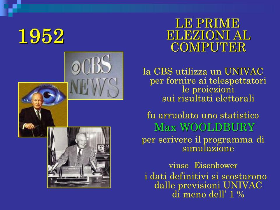 1952 LE PRIME ELEZIONI AL COMPUTER UNIVAC la CBS utilizza un UNIVAC per fornire ai telespettatori le proiezioni sui risultati elettorali fu arruolato