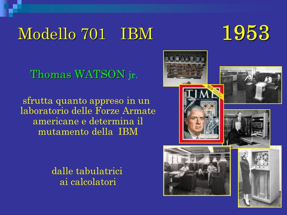 1953 Modello 701 IBM Thomas WATSON Thomas WATSON jr. sfrutta quanto appreso in un laboratorio delle Forze Armate americane e determina il mutamento de