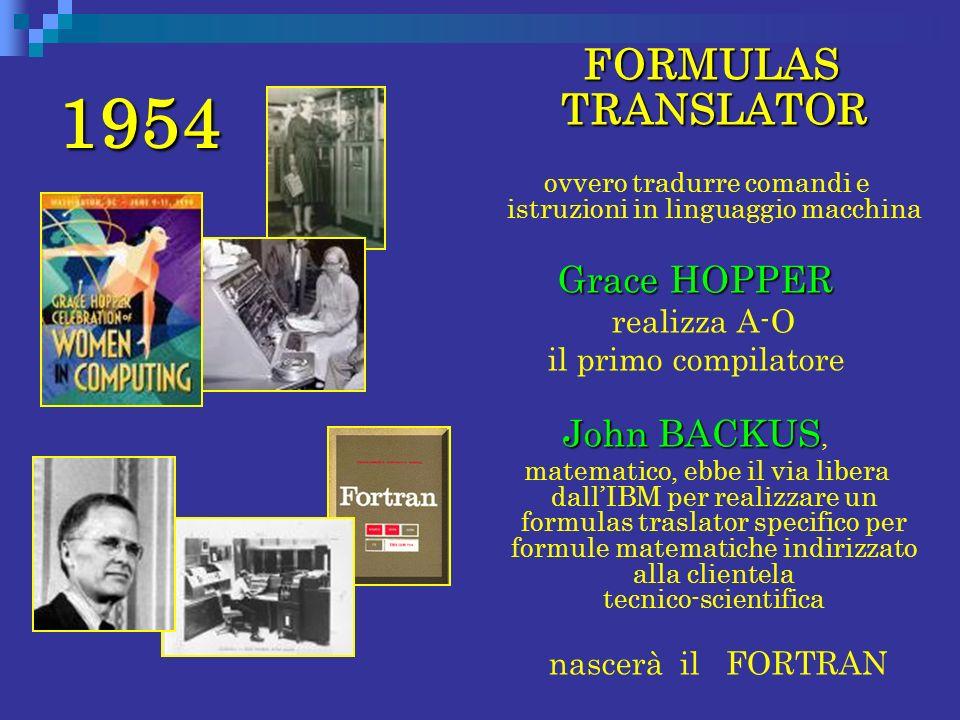 1954 FORMULAS TRANSLATOR ovvero tradurre comandi e istruzioni in linguaggio macchina Grace HOPPER realizza A-O il primo compilatore John BACKUS John B