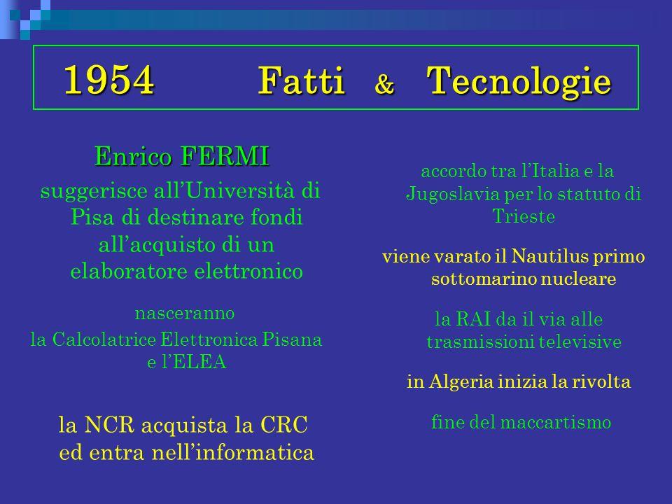 1954 Fatti & Tecnologie Enrico FERMI Enrico FERMI suggerisce allUniversità di Pisa di destinare fondi allacquisto di un elaboratore elettronico nascer
