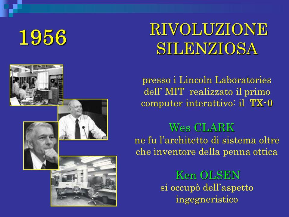 1956 RIVOLUZIONE SILENZIOSA TX-0 presso i Lincoln Laboratories dell MIT realizzato il primo computer interattivo: il TX-0 Wes CLARK Wes CLARK ne fu la