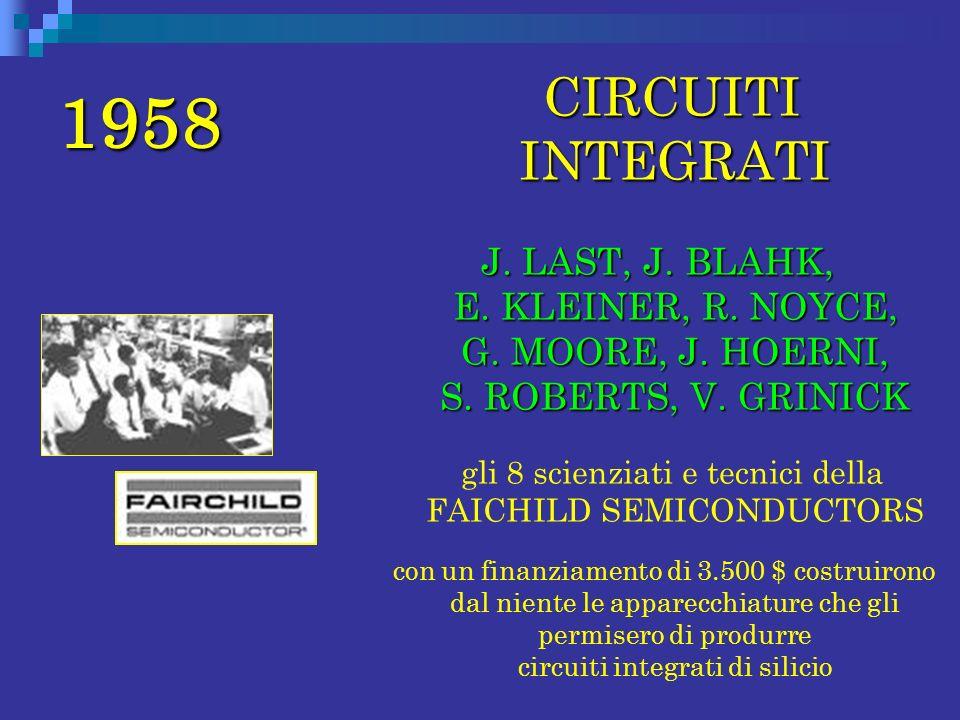 1958 CIRCUITI INTEGRATI CIRCUITI INTEGRATI J. LAST, J. BLAHK, E. KLEINER, R. NOYCE, G. MOORE, J. HOERNI, S. ROBERTS, V. GRINICK gli 8 scienziati e tec