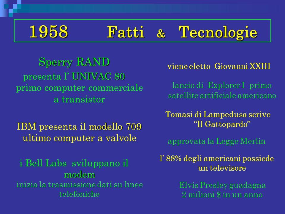 1958 Fatti & Tecnologie Sperry RAND UNIVAC 80 presenta l UNIVAC 80 primo computer commerciale a transistor modello 709 IBM presenta il modello 709 ult