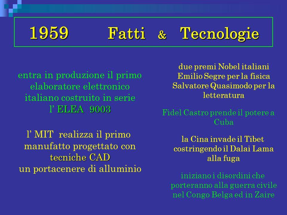 1959 Fatti & Tecnologie ELEA 9003 entra in produzione il primo elaboratore elettronico italiano costruito in serie l ELEA 9003 tecniche CAD l MIT real