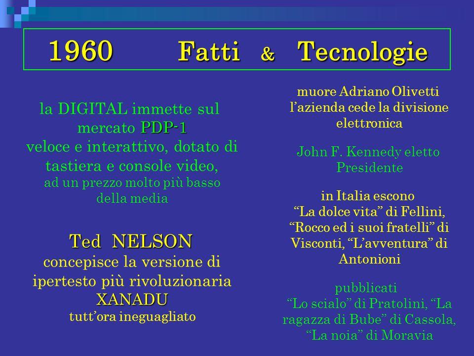 1960 Fatti & Tecnologie PDP-1 la DIGITAL immette sul mercato PDP-1 veloce e interattivo, dotato di tastiera e console video, ad un prezzo molto più ba