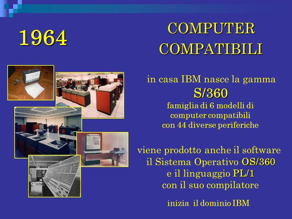1964 COMPUTER COMPATIBILI COMPUTER COMPATIBILI S/360 in casa IBM nasce la gamma S/360 famiglia di 6 modelli di computer compatibili con 44 diverse per