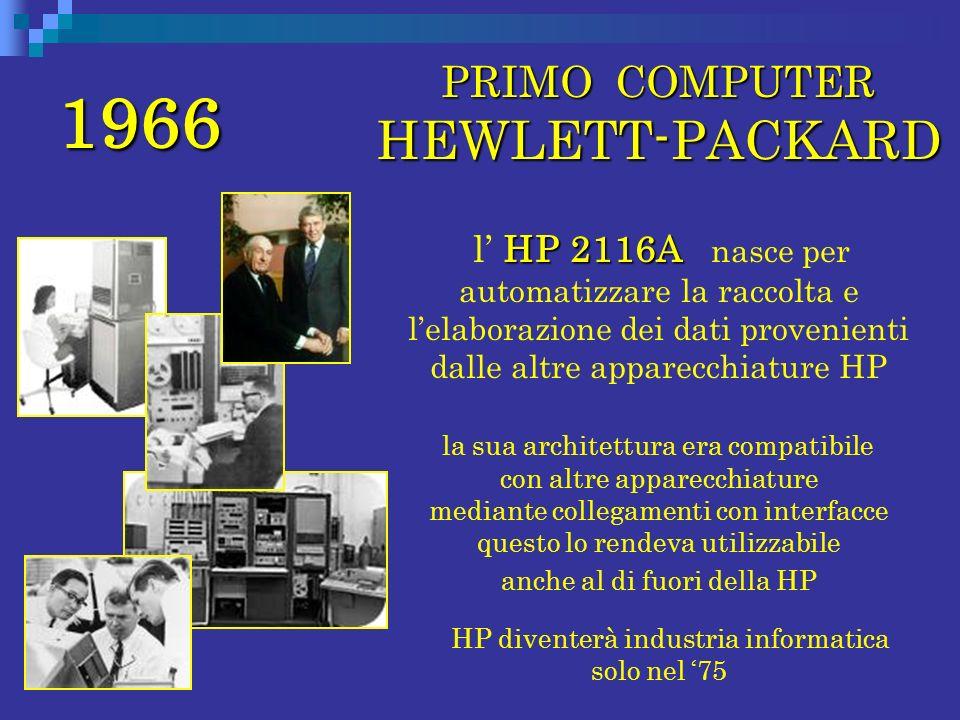 1966 PRIMO COMPUTER HEWLETT-PACKARD PRIMO COMPUTER HEWLETT-PACKARD HP 2116A l HP 2116A nasce per automatizzare la raccolta e lelaborazione dei dati pr