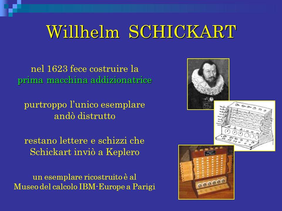 Willhelm SCHICKART prima macchina addizionatrice nel 1623 fece costruire la prima macchina addizionatrice purtroppo lunico esemplare andò distrutto re