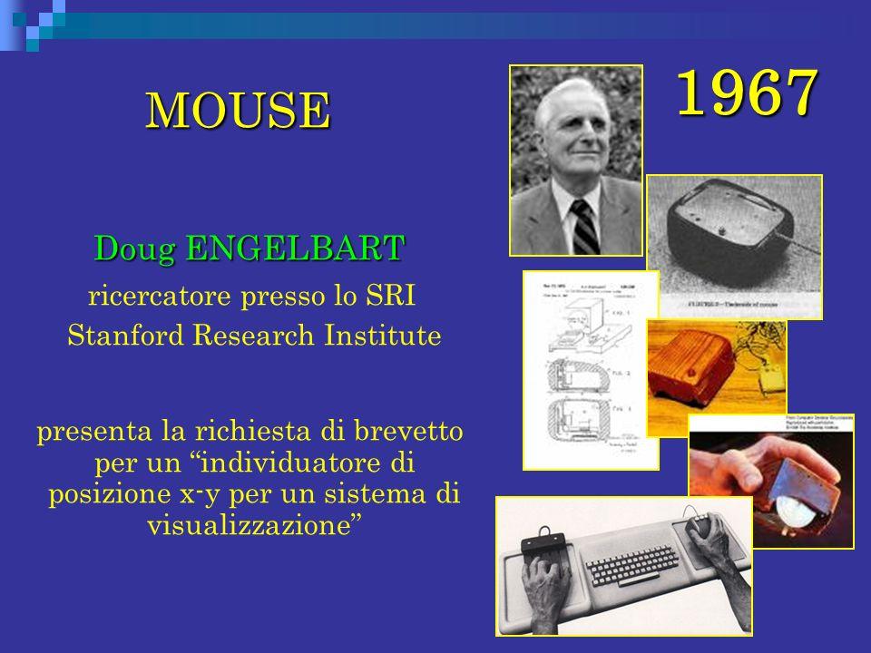 1967 MOUSE Doug ENGELBART Doug ENGELBART ricercatore presso lo SRI Stanford Research Institute presenta la richiesta di brevetto per un individuatore