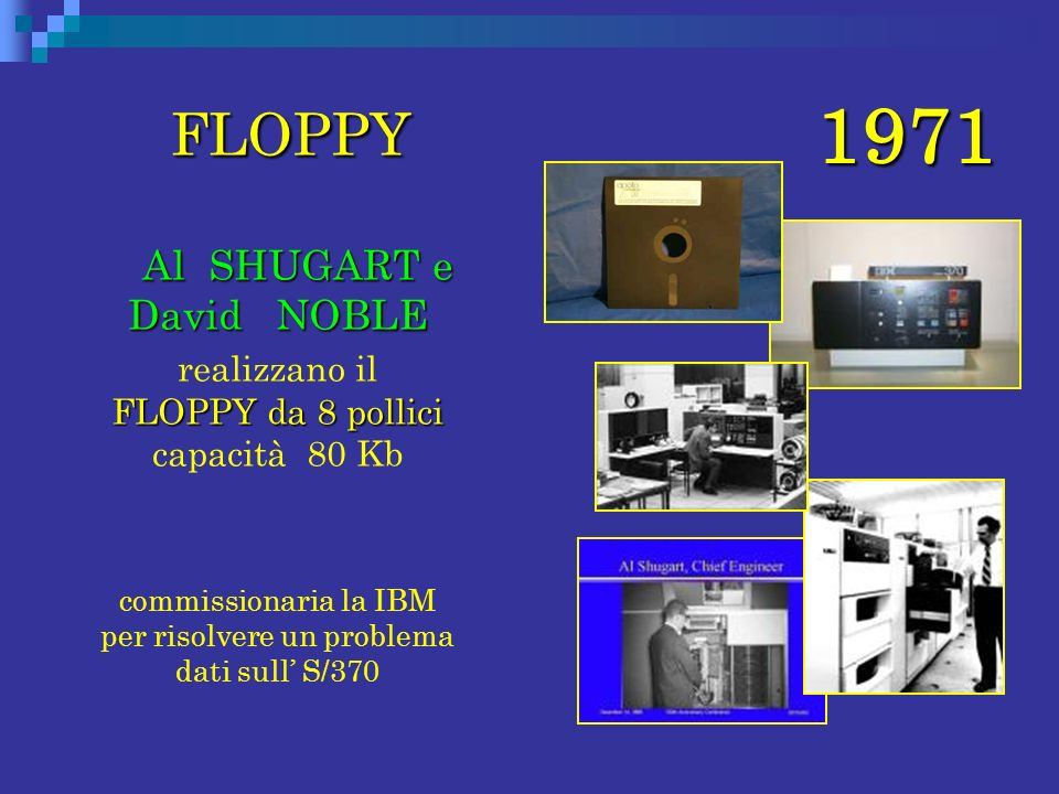 1971 FLOPPY FLOPPY Al SHUGART e David NOBLE Al SHUGART e David NOBLE FLOPPY da 8 pollici realizzano il FLOPPY da 8 pollici capacità 80 Kb commissionar