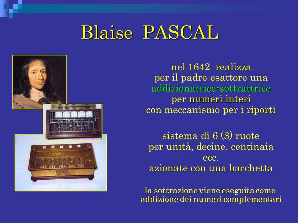 Blaise PASCAL addizionatrice-sottrattrice numeri interi riporti nel 1642 realizza per il padre esattore una addizionatrice-sottrattrice per numeri int