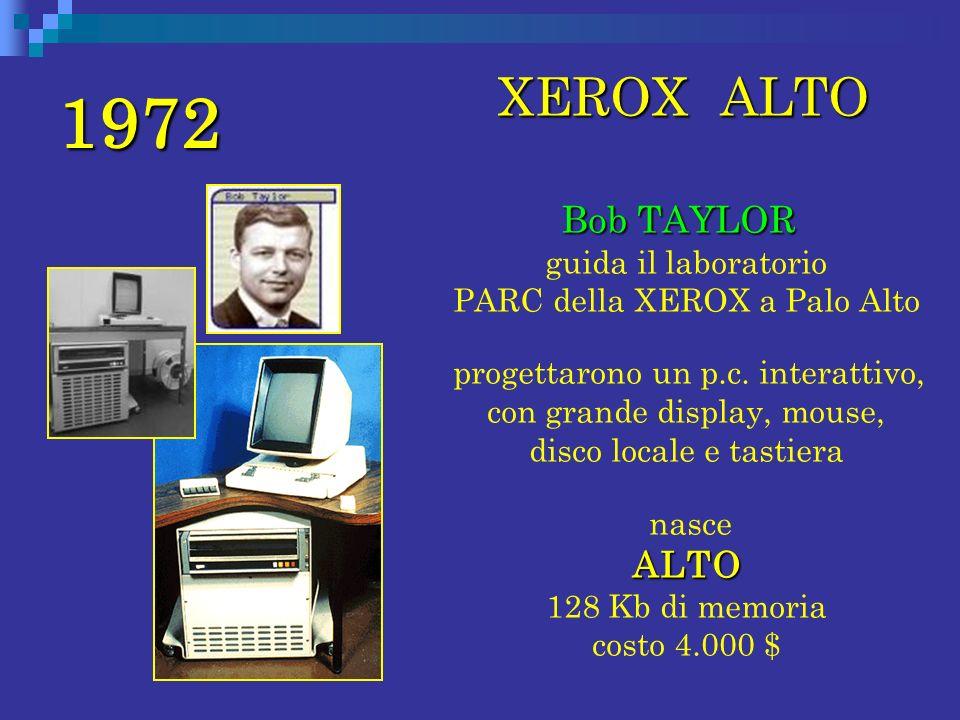 1972 XEROX ALTO XEROX ALTO Bob TAYLOR Bob TAYLOR guida il laboratorio PARC della XEROX a Palo Alto progettarono un p.c. interattivo, con grande displa