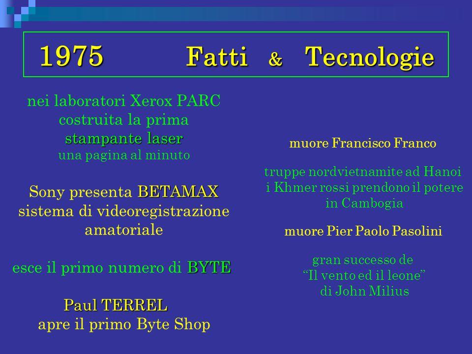 1975 Fatti & Tecnologie stampante laser nei laboratori Xerox PARC costruita la prima stampante laser una pagina al minuto BETAMAX Sony presenta BETAMA