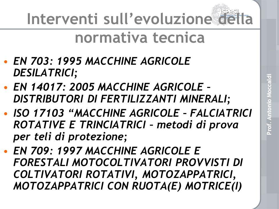 EN 703: 1995 MACCHINE AGRICOLE DESILATRICI; EN 14017: 2005 MACCHINE AGRICOLE – DISTRIBUTORI DI FERTILIZZANTI MINERALI; ISO 17103 MACCHINE AGRICOLE – FALCIATRICI ROTATIVE E TRINCIATRICI – metodi di prova per teli di protezione; EN 709: 1997 MACCHINE AGRICOLE E FORESTALI MOTOCOLTIVATORI PROVVISTI DI COLTIVATORI ROTATIVI, MOTOZAPPATRICI, MOTOZAPPATRICI CON RUOTA(E) MOTRICE(I) Interventi sullevoluzione della normativa tecnica Prof.