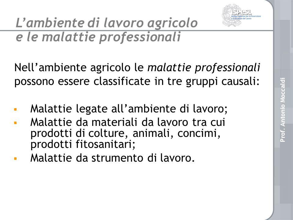 Nellambiente agricolo le malattie professionali possono essere classificate in tre gruppi causali: Malattie legate allambiente di lavoro; Malattie da materiali da lavoro tra cui prodotti di colture, animali, concimi, prodotti fitosanitari; Malattie da strumento di lavoro.