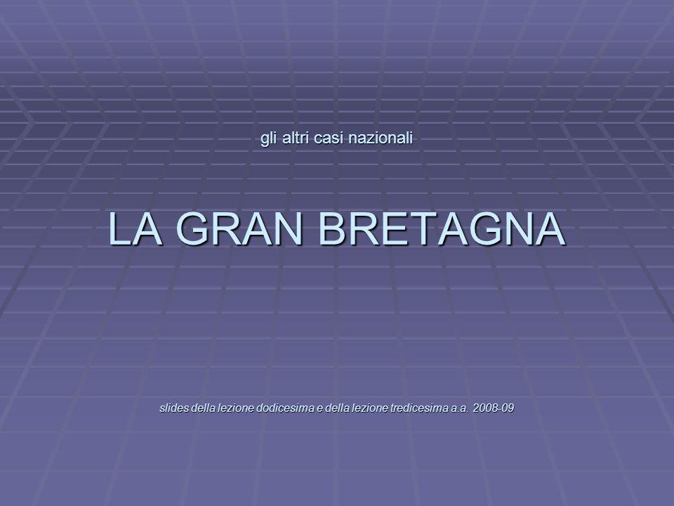 L gli altri casi nazionali LA GRAN BRETAGNA slides della lezione dodicesima e della lezione tredicesima a.a. 2008-09