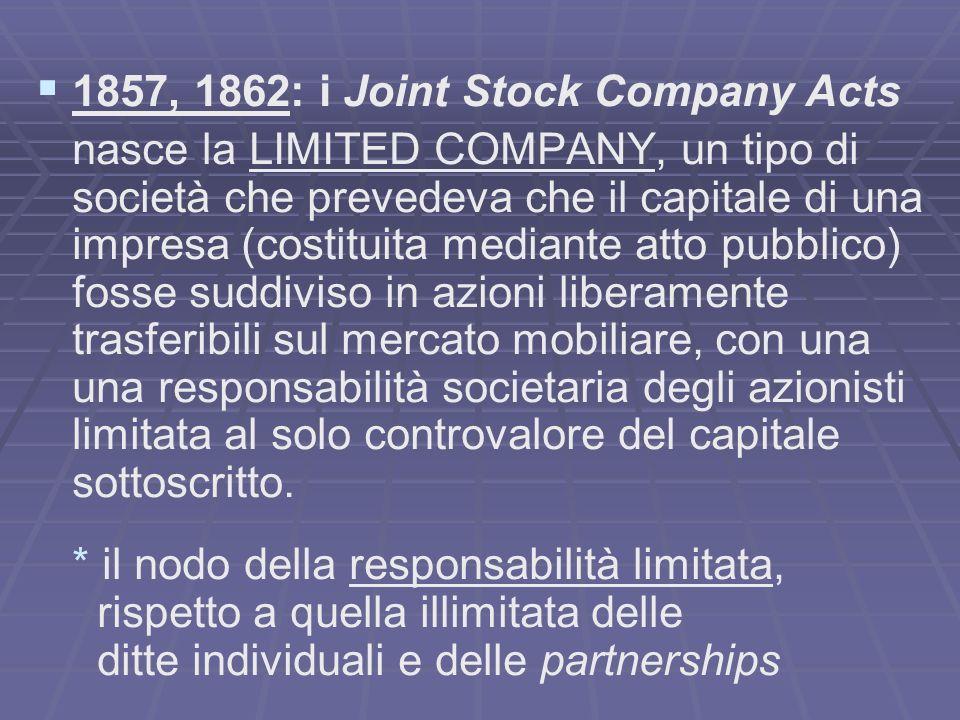 1857, 1862: i Joint Stock Company Acts nasce la LIMITED COMPANY, un tipo di società che prevedeva che il capitale di una impresa (costituita mediante atto pubblico) fosse suddiviso in azioni liberamente trasferibili sul mercato mobiliare, con una una responsabilità societaria degli azionisti limitata al solo controvalore del capitale sottoscritto.