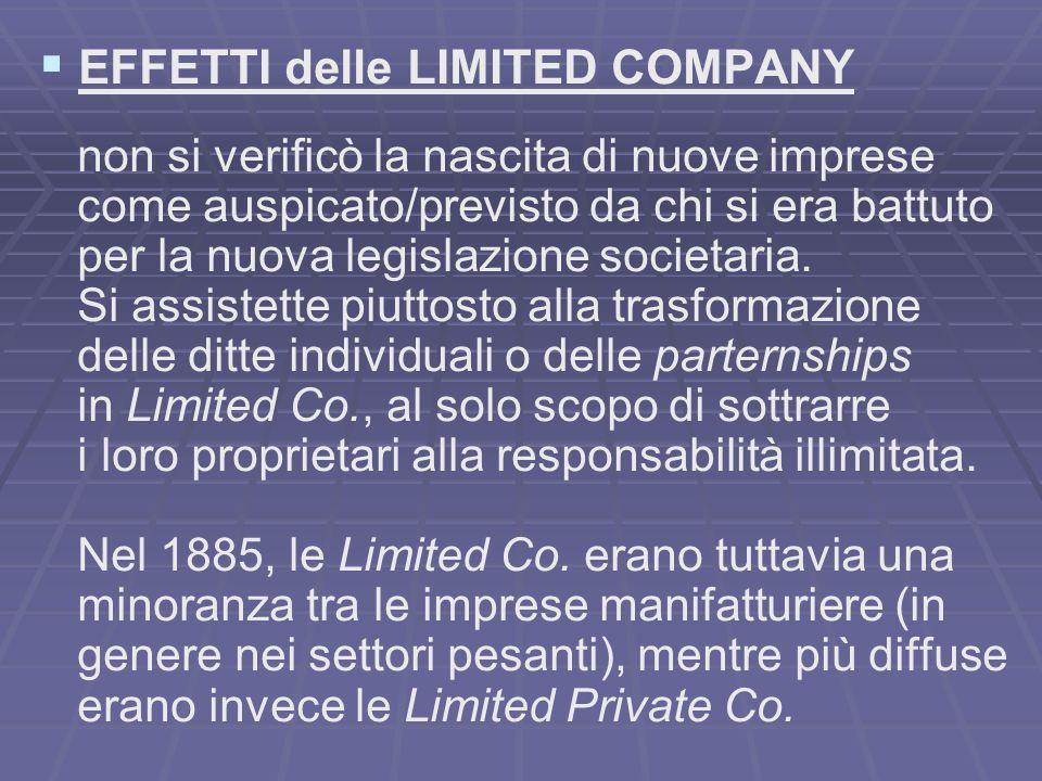 EFFETTI delle LIMITED COMPANY non si verificò la nascita di nuove imprese come auspicato/previsto da chi si era battuto per la nuova legislazione societaria.