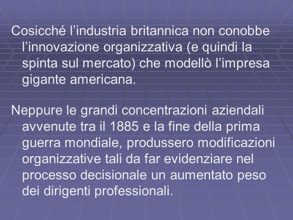 Cosicché lindustria britannica non conobbe linnovazione organizzativa (e quindi la spinta sul mercato) che modellò limpresa gigante americana.