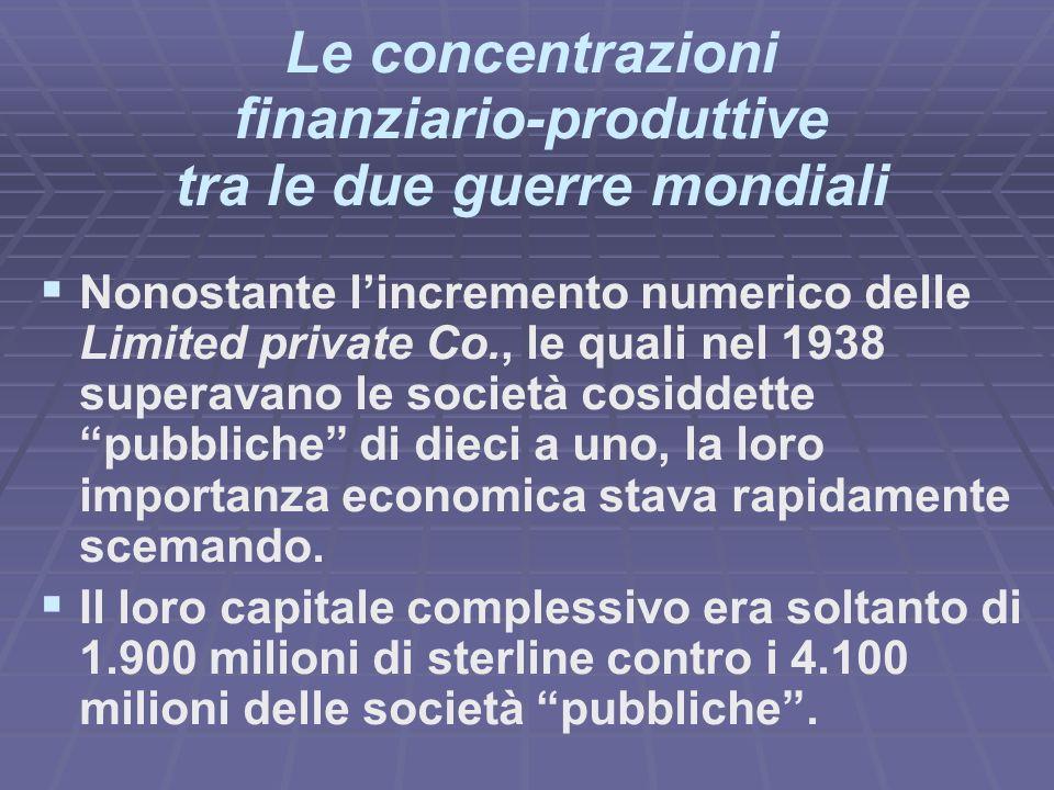 Le concentrazioni finanziario-produttive tra le due guerre mondiali Nonostante lincremento numerico delle Limited private Co., le quali nel 1938 superavano le società cosiddette pubbliche di dieci a uno, la loro importanza economica stava rapidamente scemando.