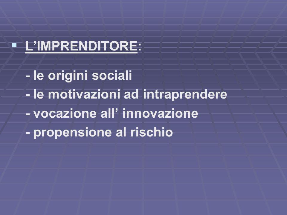 LIMPRENDITORE: - le origini sociali - le motivazioni ad intraprendere - vocazione all innovazione - propensione al rischio