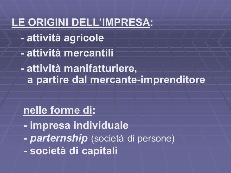 LE ORIGINI DELLIMPRESA: - attività agricole - attività mercantili - attività manifatturiere, a partire dal mercante-imprenditore nelle forme di: - impresa individuale - parternship (società di persone) - società di capitali