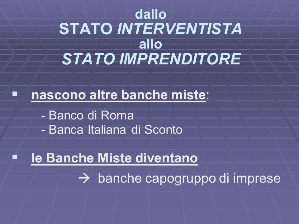 dallo STATO INTERVENTISTA allo STATO IMPRENDITORE nascono altre banche miste: - Banco di Roma - Banca Italiana di Sconto le Banche Miste diventano banche capogruppo di imprese