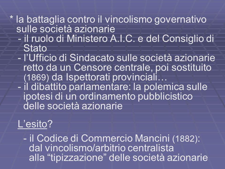 * la battaglia contro il vincolismo governativo sulle società azionarie - il ruolo di Ministero A.I.C. e del Consiglio di Stato - lUfficio di Sindacat