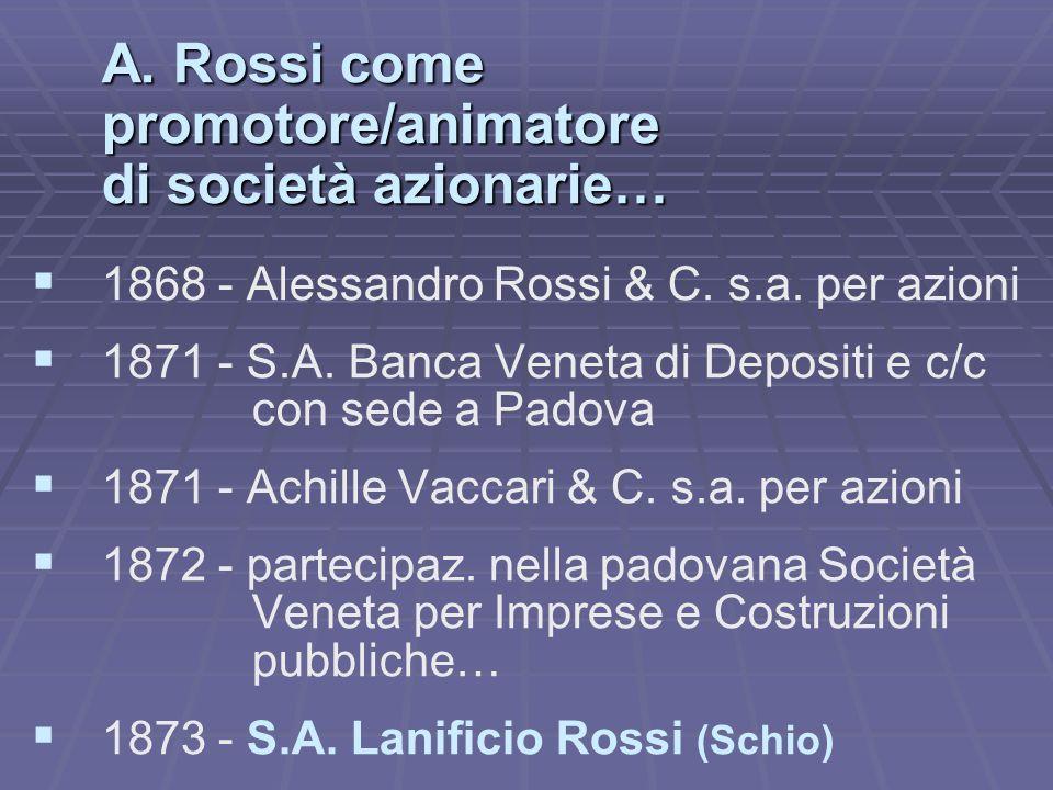 A. Rossi come promotore/animatore di società azionarie… 1868 - Alessandro Rossi & C. s.a. per azioni 1871 - S.A. Banca Veneta di Depositi e c/c con se