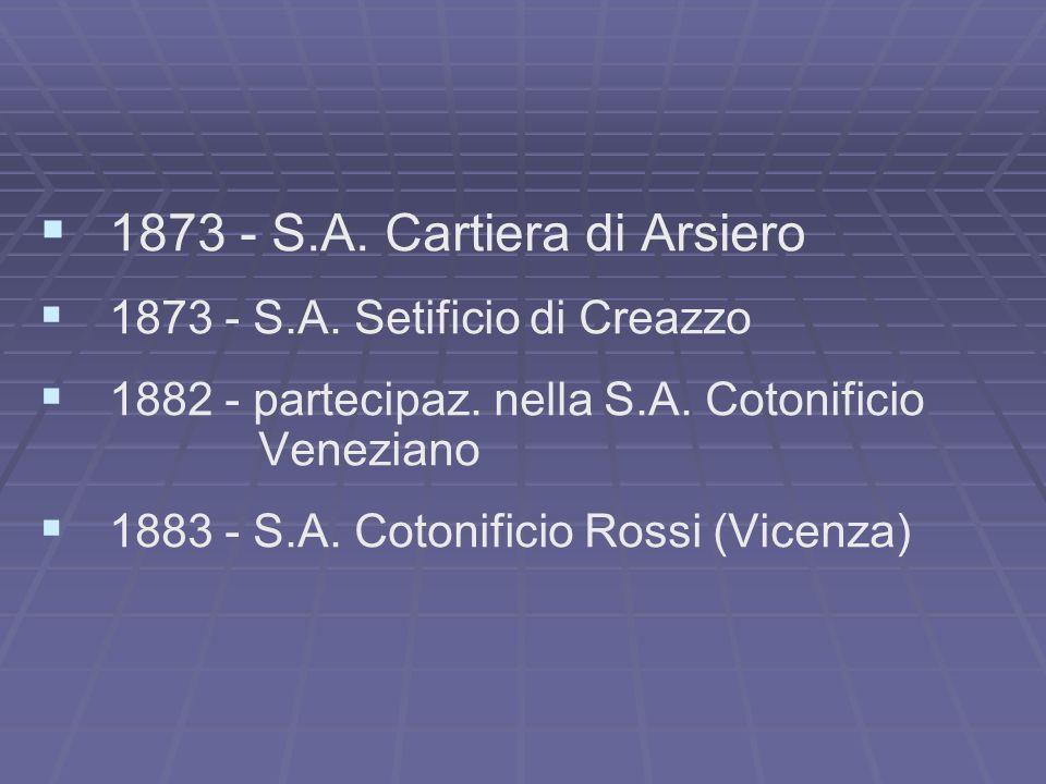 1873 - S.A. Cartiera di Arsiero 1873 - S.A. Setificio di Creazzo 1882 - partecipaz. nella S.A. Cotonificio Veneziano 1883 - S.A. Cotonificio Rossi (Vi
