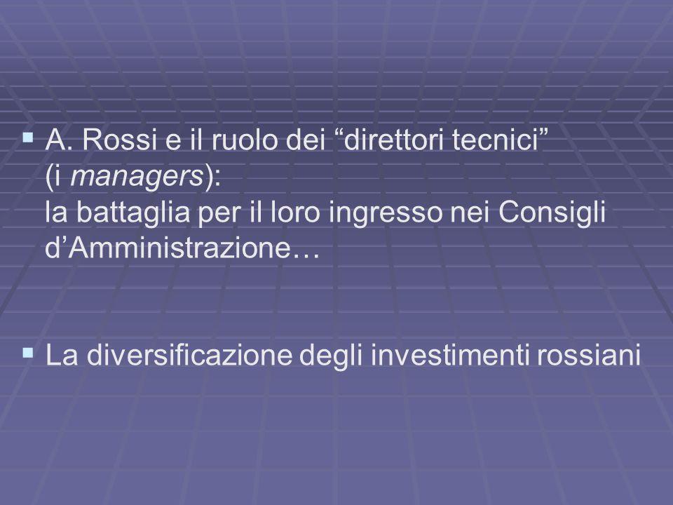 A. Rossi e il ruolo dei direttori tecnici (i managers): la battaglia per il loro ingresso nei Consigli dAmministrazione… La diversificazione degli inv