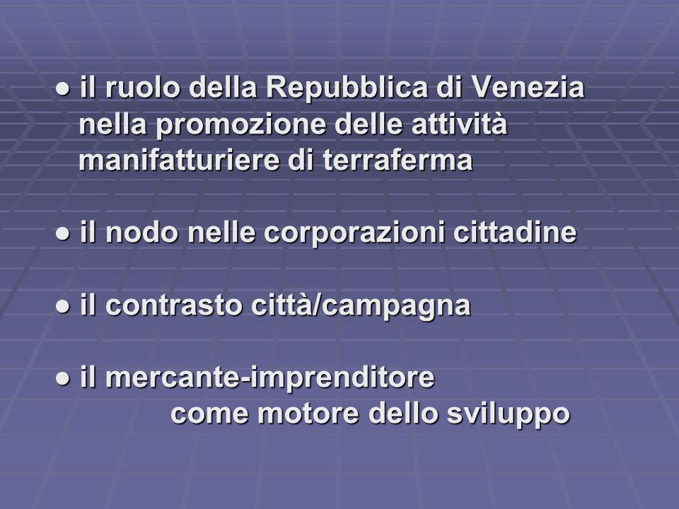 il ruolo della Repubblica di Venezia il ruolo della Repubblica di Venezia nella promozione delle attività nella promozione delle attività manifatturie