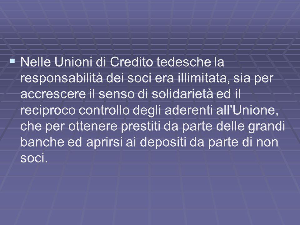 Nelle Unioni di Credito tedesche la responsabilità dei soci era illimitata, sia per accrescere il senso di solidarietà ed il reciproco controllo degli