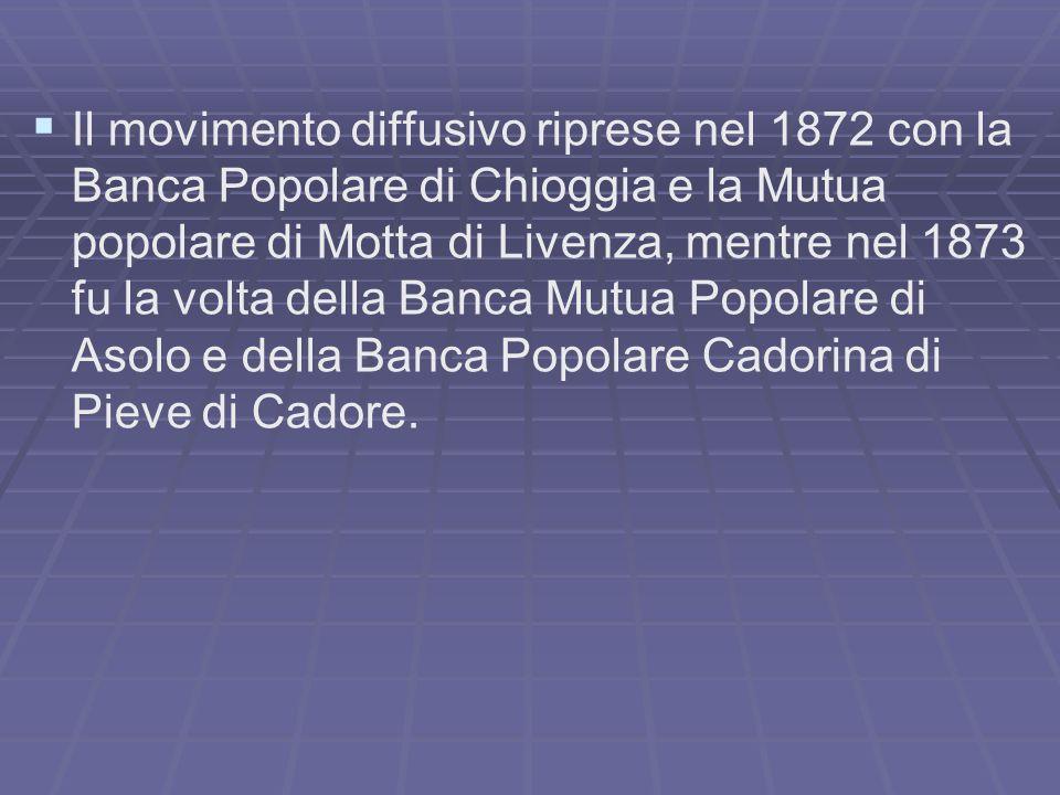 Il movimento diffusivo riprese nel 1872 con la Banca Popolare di Chioggia e la Mutua popolare di Motta di Livenza, mentre nel 1873 fu la volta della B