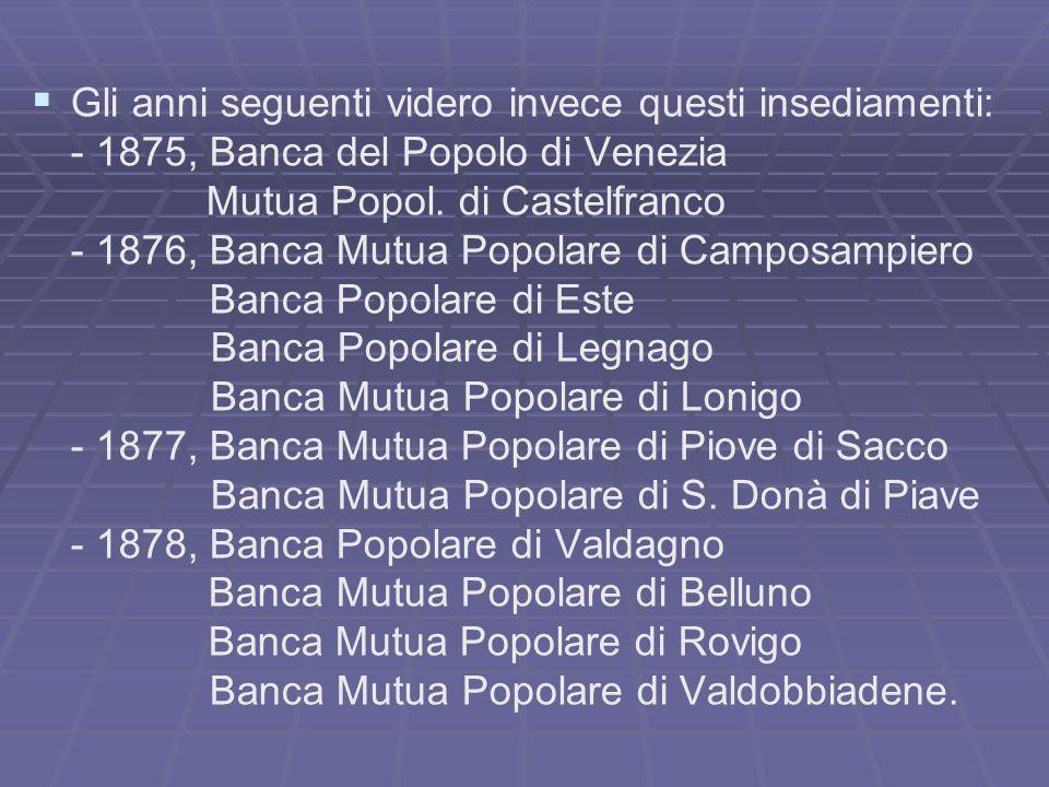 Gli anni seguenti videro invece questi insediamenti: - 1875, Banca del Popolo di Venezia Mutua Popol. di Castelfranco - 1876, Banca Mutua Popolare di