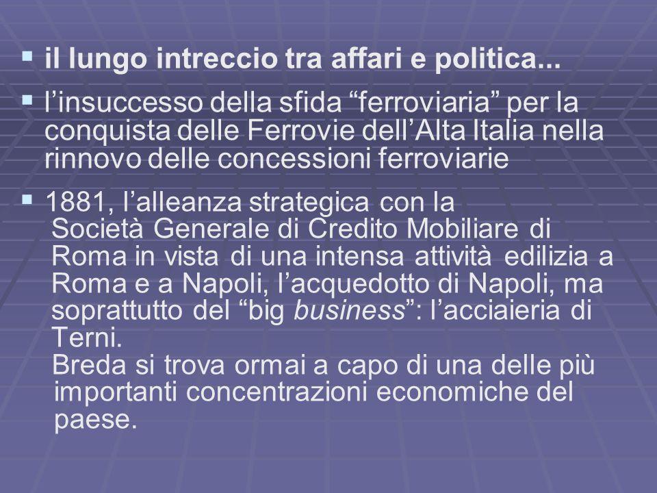il lungo intreccio tra affari e politica... linsuccesso della sfida ferroviaria per la conquista delle Ferrovie dellAlta Italia nella rinnovo delle co