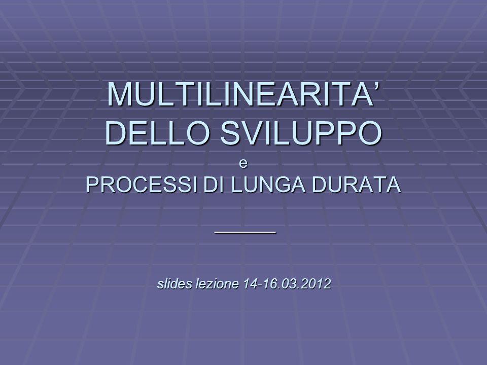L MULTILINEARITA DELLO SVILUPPO e PROCESSI DI LUNGA DURATA slides lezione 14-16.03.2012 _____